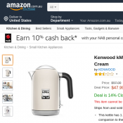 Kenwood kMix Kettle - ZJX740CR - Cream $47.99 & FREE Delivery Deal Image