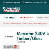 Mercator 240V Laya Pendant Light Large - Timber/Glass $114 @Bunnings Deal Image