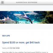 Spend $100 or more, Get $40 back via AMEX @Sea Life Deal Image