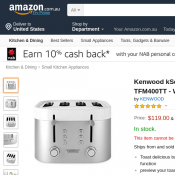 Kenwood kSense 4 Slice Toaster $119 (Was $189.99) Deal Image