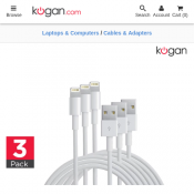 3 Pack Apple MFI Certified Lightning to USB Cable (3m) $25 Deal Image