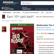 Wolfenstein The Old Blood XBOX ONE $14.99 Deal Image
