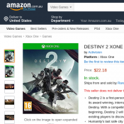 DESTINY 2 XONE $22.18 @ Amazon AU