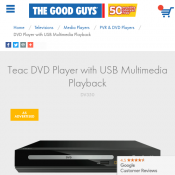Teac DVD Player with USB Multimedia Playback $25.00