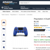 Playstation 4 DualShock 4 Controller $39.99 (RRP $89.99) @Amazon Deal Image