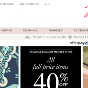 Exclusive Reward Members: 40% Off Full Priced Items @Millers Deal Image