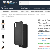 iPhone X Case, Award Winning Thinnest Cover Premium Fit FOR $4