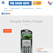 Energizer Battery Charger 4XAA $19 @ The Good Guys Deal Image