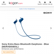 Sony Extra Bass Bluetooth Earphone - Blue $59 + Free Shipping @ Kogan Deal Image