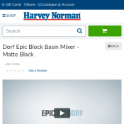 Dorf Epic Block Basin Mixer - Matte Black $147 (Was $591) @Harvey Norman