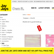 Up to 80% Off Sale Items + Free Shipping @Jay Jays Deal Image