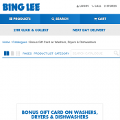 Bonus Bing Lee Gift Card valued up to $150 on Washers, Dryers and Dishwashers Deal Image
