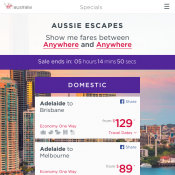 Aussie Escape Flight Frenzy: Domestic Flights from $85 @Virgin Australia Deal Image