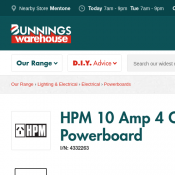 HPM 10 Amp 4 Outlet Surge Protected Powerboard $11.79 (Was $19.98) @Bunnings Deal Image