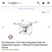 DJI Phantom 3 4K with Integrated UHD 4K Cam - Official DJI Refurbished Drone $649