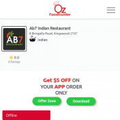 26% off, Use Code : Oz05 - Ab7 Indian Restaurant, Kingswood 2747 Deal Image