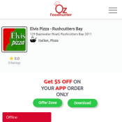 30% Off -Elvis Pizza - Rushcutters Bay-Rushcutters Bay 2011 Deal Image