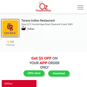 25% Off -Tarana Indian Restaurant-Diamond Creek  Deal Image